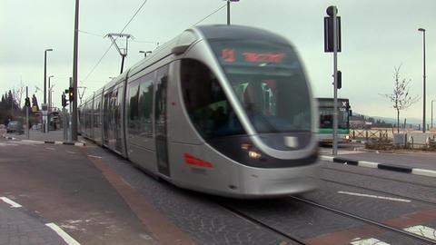Jerusalem tram 3 Stock Video Footage