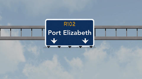 4K Passing Port Elizabeth South Africa Highway Road Sign with Matte 1 neutral Animation