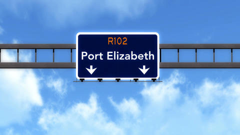 4K Passing Port Elizabeth South Africa Highway Road Sign with Matte 2 stylized Animation