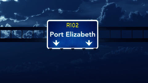 4K Passing Port Elizabeth South Africa Highway Sign at Night with Matte 2 styliz Animation