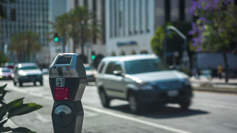 Wilshire Parking Meter stock footage