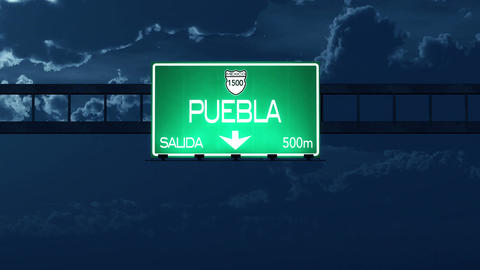 4K Passing Puebla Mexico Highway Road Sign at Night with Matte 2 stylized Animation