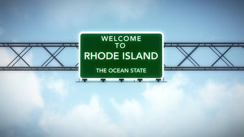 4K Passing Rhode Island USA State Border Welcome Road Sign with Matte 2 stylized Animation