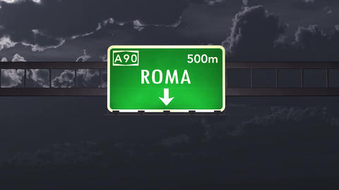 4K Passing Roma Italy Highway Sign at Night with Matte 1 neutral Animation
