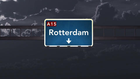4K Passing Rotterdam Netherlands Highway Sign at Night with Matte 1 neutral Animation