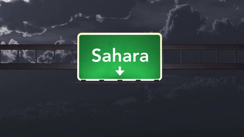 4K Passing Sahara Africa Highway Sign at Night with Matte 1 neutral Animation