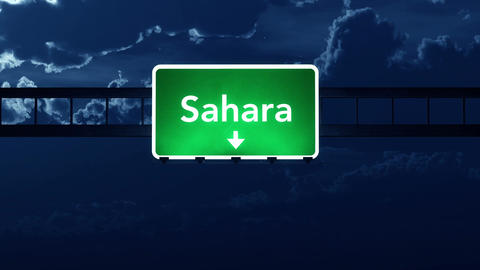 4K Passing Sahara Africa Highway Sign at Night with Matte 2 stylized Animation