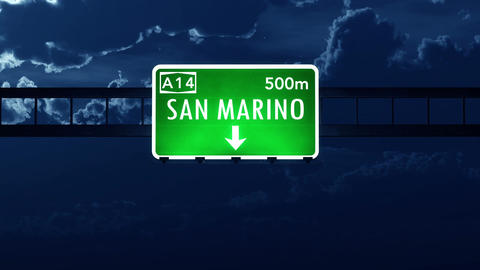 4K Passing San Marino Highway Sign at Night with Matte 2 stylized Animation
