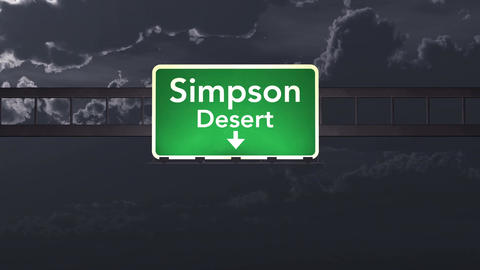 4K Passing Simpson Desert Australia Highway Sign at Night with Matte 1 neutral Animation
