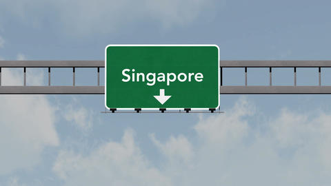 4K Passing Singapore Highway Road Sign with Matte 1 neutral Animation