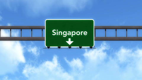4K Passing Singapore Highway Road Sign with Matte 2 stylized Animation