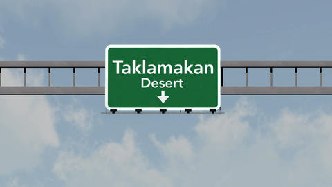 4K Passing Taklamakan Desert China Highway Road Sign with Matte 1 neutral Animation