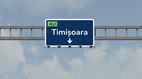 4K Passing Timisoara Romania Highway Road Sign With Matte 1 Neutral stock footage