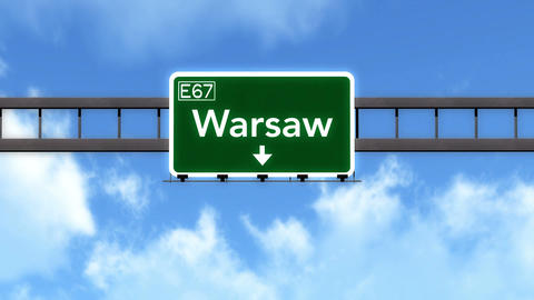 4K Passing Warsaw Poland Highway Road Sign with Matte 2 stylized Animation