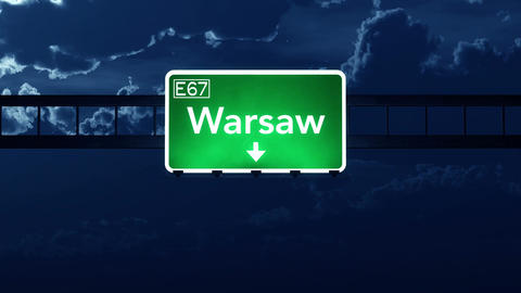 4K Passing Warsaw Poland Highway Sign at Night with Matte 2 stylized Animation