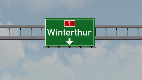 4K Passing Winterthur Switzerland Highway Road Sign with Matte 1 neutral Animation