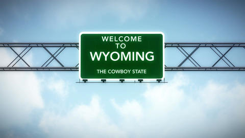 4K Passing Wyoming USA State Border Welcome Road Sign with Matte 2 stylized Animation