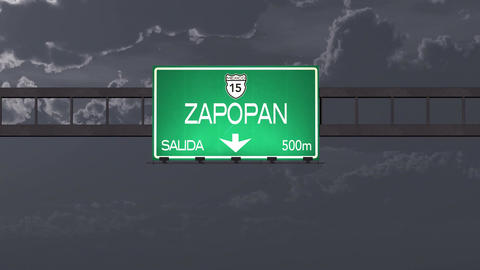 4K Passing Zapopan Mexico Highway Road Sign at Night with Matte 1 neutral Animation