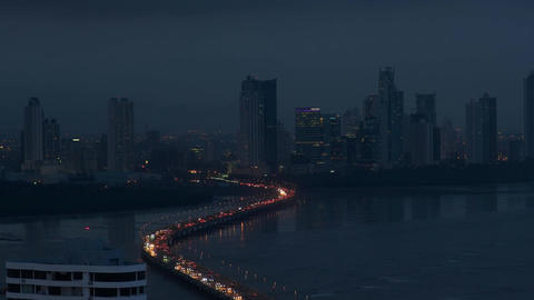 Panama City Night View Of Traffic Cars On Highway Footage