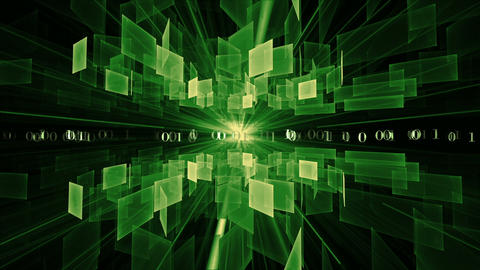 Green Cubes in Rotation, Internet Concept Animation