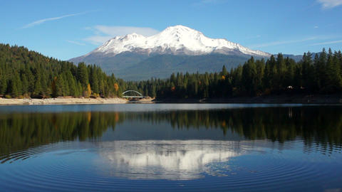 Mt Shasta Mountain Siskiyou Lake Bridge California Recreation Landscape Footage