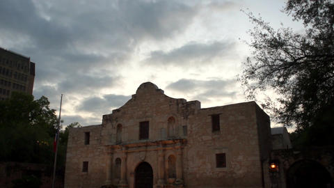 The Sun Rises Behind The Alamo in San Antonio Downtown City Skyline Footage