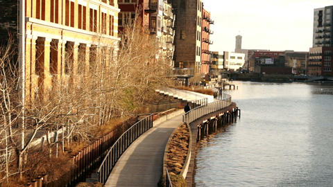 Milwaukee River Walk Menomonee River Downtown Footage