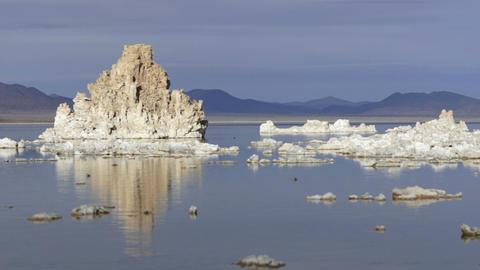 Rock Salt Tufa Formations Sunset Mono Lake California Nature Outdoors Footage
