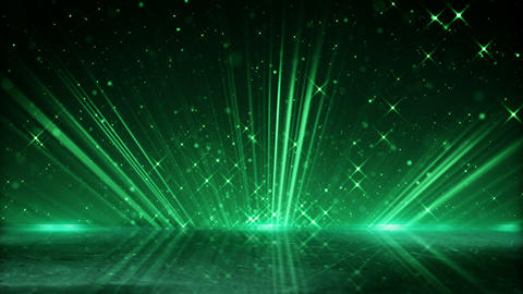 green light beams and shimmering particles loopable background Animation