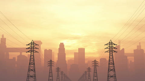4K High Electric Voltage Poles and Huge Smoggy Metropolis in the Sunset Sunrise  Animation