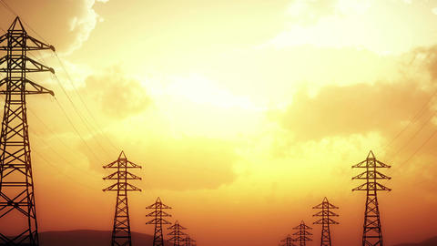 4K High Voltage Electric Poles System in the Sunset Sunrise 3D Animation 14 styl Animation