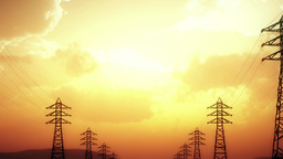 4K High Voltage Electric Poles System in the Sunset... Stock Video Footage