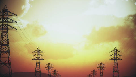 4K High Voltage Electric Poles System in the Sunset Sunrise 3D Animation 15 styl Animation