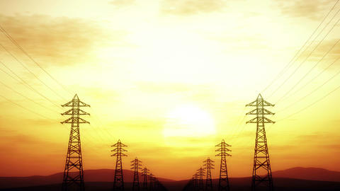 4K High Voltage Electric Poles System in the Sunset Sunrise 3D Animation 3 styli Animation