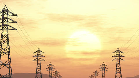 4K High Voltage Electric Poles System in the Sunset Sunrise 3D Animation 5 flat Animation