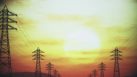 4K High Voltage Electric Poles System in the Sunset Sunrise 3D Animation 6 styli Animation