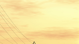 4K High Voltage Electric Poles System in the Sunset Sunrise 3D Animation 9 flat Animation