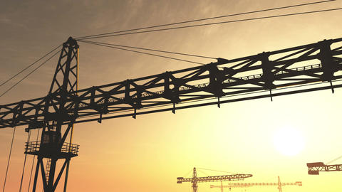 4K Huge Construction Cranes in Industrial Zone in Sunset Sunrise 3D Animation 4  Animation