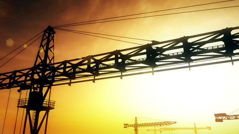 4K Huge Construction Cranes in Industrial Zone in Sunset…, Stock Animation