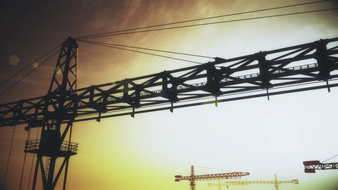 4K Huge Construction Cranes in Industrial Zone in Sunset Sunrise 3D Animation 6  Animation