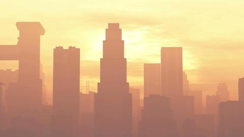 4K Huge Smoggy Metropolis in the Sunset Sunrise 3D Animation 1 flat Animation