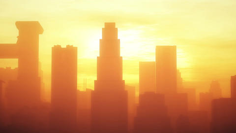 4K Huge Smoggy Metropolis In The Sunset Sunrise 3D Animation 2 Stylized stock footage