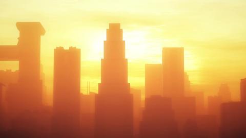4K Huge Smoggy Metropolis in the Sunset Sunrise 3D Animation 2 stylized Animation