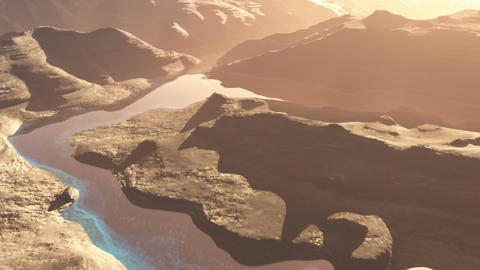 Aerial Shot of a Rocky Canyon and a Lake 3D Animation 1 flat Animation