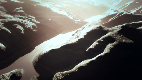 Aerial Shot of a Rocky Canyon and a Lake 3D Animation 14 stylized Animation