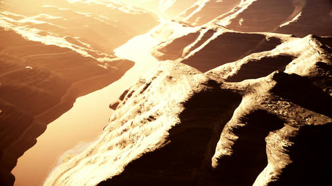 Aerial Shot of a Rocky Canyon and a Lake 3D Animation 2 stylized long version Animation