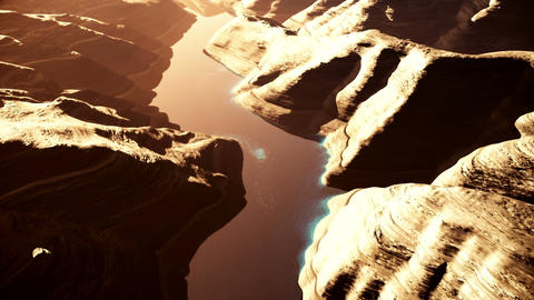 Aerial Shot of a Rocky Canyon and a Lake 3D Animation 7 stylized Animation
