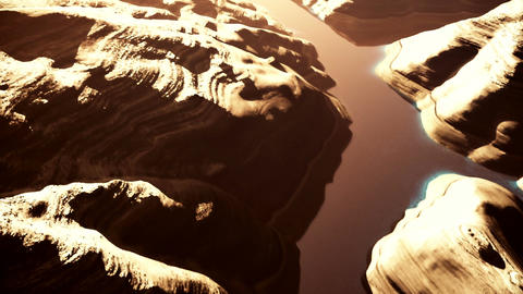 Aerial Shot of a Rocky Canyon and a Lake 3D Animation 8 stylized Animation