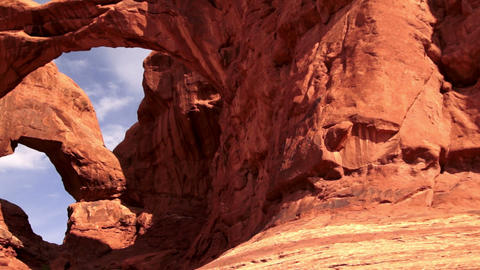 Arches National Park Rock Formations Double Window Arch Panning Footage