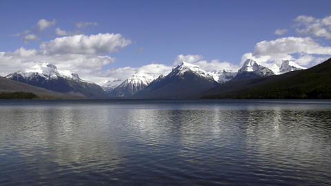 Static Shot Lake McDonald Water Shimmering Fast Glacier National PArk Peaks Footage